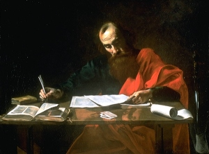 "Valentin de Boulogne, ""St. Paul Writing His Epistles"""