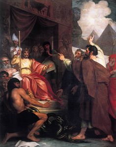 "Benjamin West, ""Moses and Aaron Before Pharaoh"""