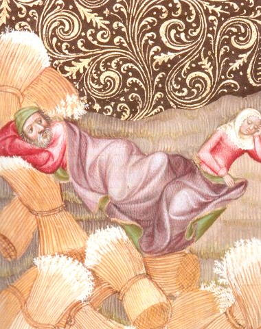 "Wenzel Bible (1389), illustrating ""He awoke in the middle of the night and there was a woman lying at his feet."""
