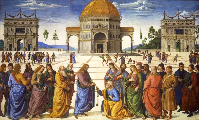 """Christ Giving the Keys to St. Peter,"" fresco, Pietro Perugino, 1481–1482, Sistine Chapel. Roman Catholics believe that a definitive teaching authority now resides in the Church. What are Protestants to do to settle their disagreements?"